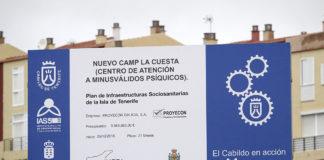 Cartel a pie de obra del CAMP La Cuesta. Manuel Expósito. NOTICIAS 8 ISLAS