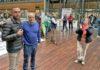 Jerónimo Rodríguez, secretario general de CCOO Endesa en Canarias, y José Manuel Falagán, secretario general de CCOO Endesa, durante la pitada celebrada ayer en la sede de Endesa en Madrid. Cedida. NOTICIAS 8 ISLAS