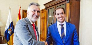 El presidente de Canarias, Ángel Víctor Torres y el presidente del Cabildo de La Palma, Mariano Hernández Zapata. Cedida. NOTICIAS 8 ISLAS.