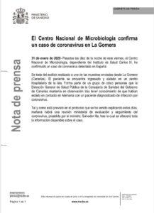 Comunicado del Centro Nacional de Microbiología del Instituto de Salud Carlos III