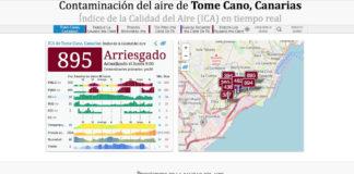 Calidad del aire a las 09,00 h. de hoy lunes en ICA Tomé Cano en S/C de Tenerife./ aqicn.org