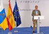 Un momento de la rueda de prensa ofrecida hoy por el presidente de Canarias. Cedida. NOTICIAS 8 ISLAS.