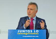 Un momento de la rueda de prensa ofrecida hoy por el presidente del Gobierno de Canarias. Cedida. NOTICIAS 8 ISLAS.