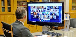 Videoconferencia de los presidentes de las Comunidades Autónomas con el Presidente del Gobierno de España./ Cedida.