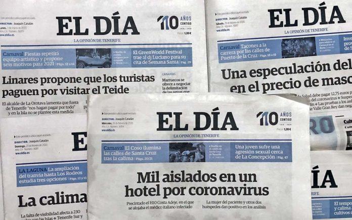 Portadas del rotativo El Día. Manuel Expósito. NOTICIAS 8 ISLAS.