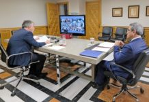 Un momento de la reunión con ayuntamientos y cabildos. Cedida. NOTICIAS 8 ISLAS.