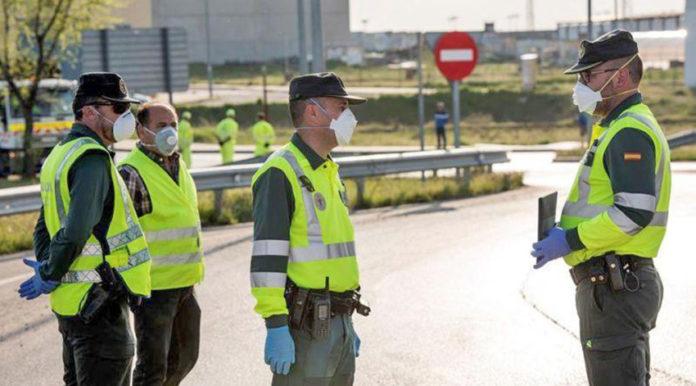Grupo de Guardias Civiles con mascarillas./ AUGC.