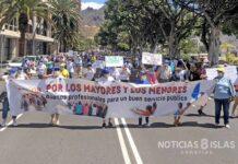Manifestación de trabajadores y usuarios de Ansina y del Cidemat el pasado 27 de junio./ ©Manuel Expósito.