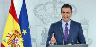 Un momento de la rueda de prensa ofrecida ayer por Sánchez en La Moncloa./ Pool Moncloa - Fernando Calvo.