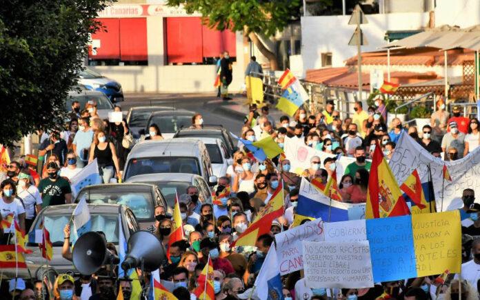 Por segundo sábado consecutivo se ha celebrado una manifestación en las calles de Arguineguín./ Cedida.