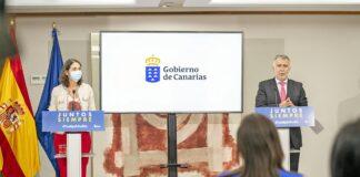 Rueda de prensa hoy de la ministra Reyes Maroto y del presidente Ángel Víctor Torres./ Cedida.