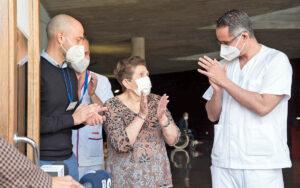 Doria Ramos tras la vacunación./ Cedida.