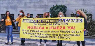 Huelga de los trabajadores temporales públicos en Las Palmas./ Cedida.