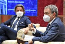José Luis Rodríguez Zapatero en su intervención en el Parlamento de Canarias./ Cedida.