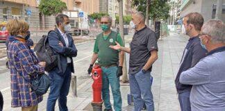 Visita a la zona afectada por las obras de la Metroguagua./ Cedida.
