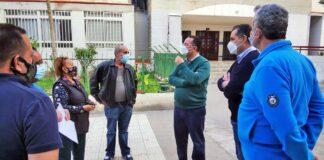 Visita realizada por el presidente del PP de Gran Canaria, Poli Suárez, el secretario general, Óscar Mata, y el concejal municipal popular Ignacio Guerra./ Cedida.