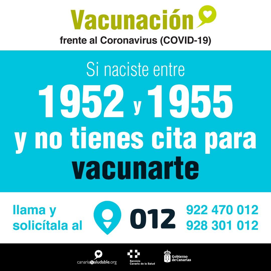 Los nacidos entre 1952 y 1955 que no hayan sido vacunadas contra la COVID-19 ya pueden solicitar cita en el 012