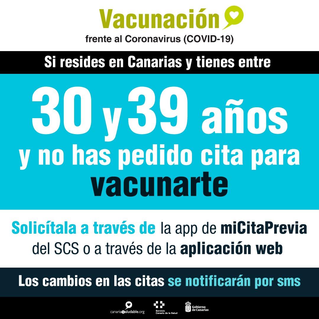 Los residentes entre 30 y 39 años ya pueden pedir cita para vacunarse a través de la app miCitaPrevia del SCS