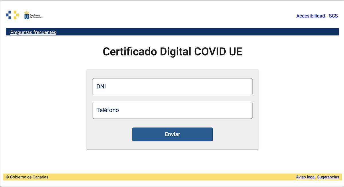 Sanidadcreauna aplicaciónweb para el acceso alCertificado COVIDDigitalUEpara los vacunados por el SCS