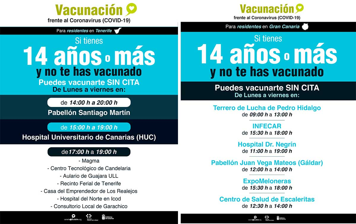 Se inicia la vacunación en Tenerife y Gran Canaria para mayores de 14 años sin cita previa