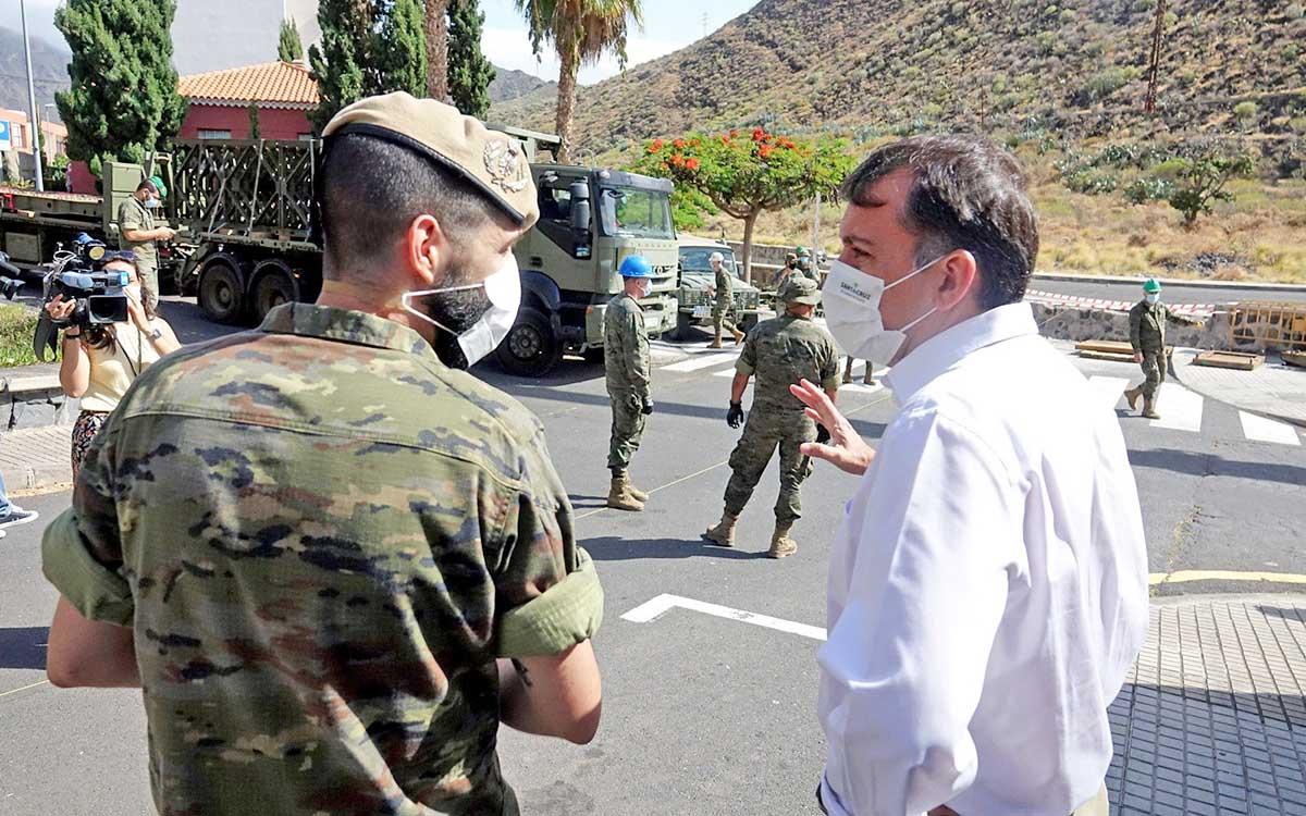 El Ejército inicia el montaje del puente que unirá San Andrés con Anaga