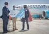 Recepción del A319 en el Aeropuerto Tenerife Sur./ Cedida.