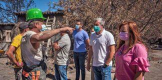 Visita a los vecinos y a la zona afectada por el incendio en El Paso y Los Llanos de Aridane./ Cedida.