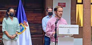 Rueda de prensa ofrecida hoy por el presidente insular Mariano Zapata./ Cedida.