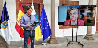 Rueda de prensa hoy de los responsables del PVOLCA con Ruben Fernández y María José Blanco./ Cedida.